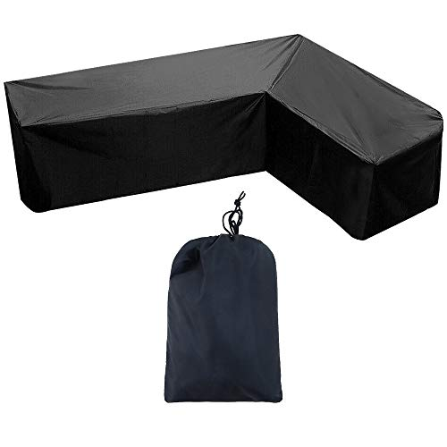ZMYY Corner Furniture Cover with Storage Bag Foldable and Easy Carry Outdoor Patio Furniture Sofa Rattan (210 * 264cm)