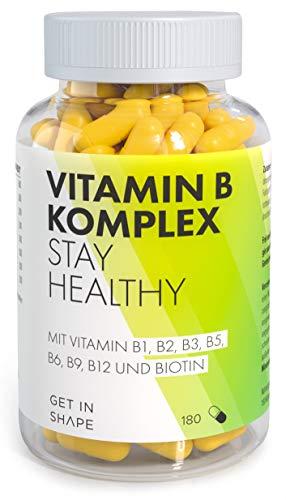 Vitamin B Komplex- 180 Vegane Kapseln mitVitamin B12,Biotin,Folsäure,Vitamin B6etc, Optimale Dosierung derB Vitaminefür dein Wohlbefinden, In Deutschland hergestellt, von Get in Shape