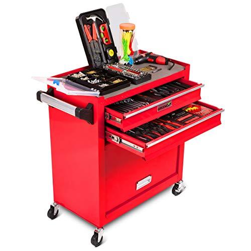 GREENCUT TOOLS881 - Carro de herramientas móvil con 881 piezas en color rojo, Banco de Herramientas para Taller y Hogar, movilidad con 4 ruedas y asa lateral