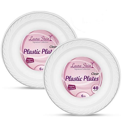 [80 Count -6 Inch Plates] Laura Stein Premium Heavy Weight Crystal Clear Disposable Plastic Dessert Size Plate, Great For Wedding, Event, Parties, Catering, Buffets, 2 Packs