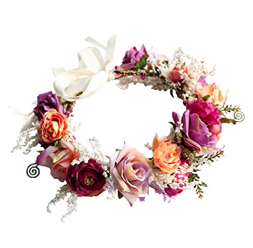 Rose Flower Crown Floral Headband Garland Hair Wreath Hair Garland Flower Halo Floral Headpiece Boho with Ribbon Wedding Party Festival Rosy by Brikuinr