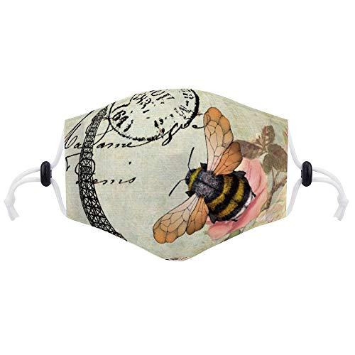 Maske (mit zwei Filtern) Pariser Turm und Bienenmundmaske Unisex Anti-Dust Pollution Cycling Facial Protector