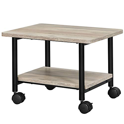VASAGLE Industrial Under Desk Printer Stand, 2-Tier Mobile Machine Cart with Shelf, Heavy Duty Storage Rack for Office and Home, Greige and Black UOPS002B02