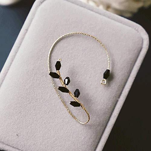 Orecchini polsini dell'orecchio Vintage Wrap Around Womens Fashion Beading Ear Hook Non-Piercing Ear Wrap Crawler Hook Orecchini Handmade Elven Wrap Earrings-Black_1pcs
