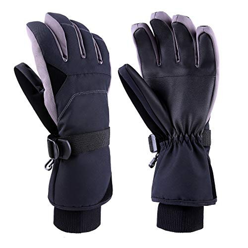 TOMSHOO Skihandschuhe Winterhandschuhe,Wasserfeste Winddicht Winter Handschuhe mit Feste Baumwolle und Baumwolle mit hoher Dichte für das Wintersport Ski Snowboard (Schwarz-SM)