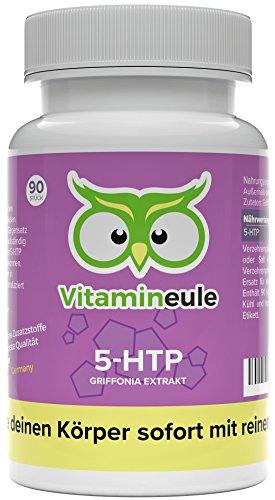 5-HTP Kapseln hochdosiert mit 100mg pro Kapsel - Griffonia Extrakt - Qualität aus Deutschland - ohne Zusätze - effektiver als L-Tryptophan - 5-Hydroxytryptophan als Serotonin Booster - Vitamineule®