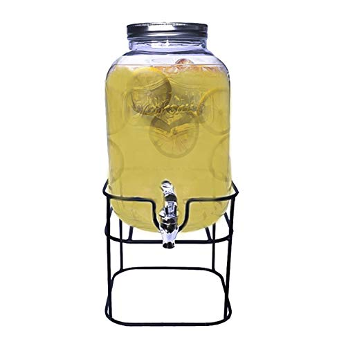Top Choice 2415-2839 Dispensador de Bebidas Vitrolero Mason Jar de Vidrio con Base de Metal de 5 Litros