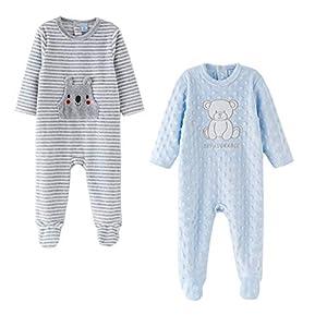 Amomí, Pijamas Terciopelo para Bebé, Pelele para Bebé Niño 24 Meses, Manga Larga, Set de 2 (24 Meses, Set 2 pcs)