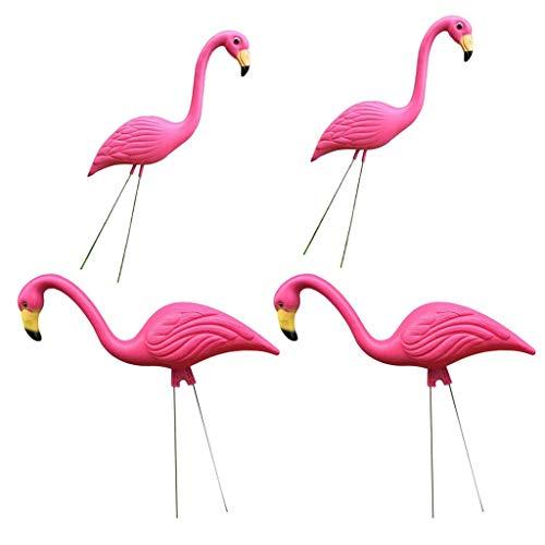 DZX 4 pièces Vintage Pink Flamingo Garden Stakes Statues d'animaux d'oiseaux en Plastique pour Les décorations de Jardin extérieur , Décorations de Jardin Art de clôture extérieure