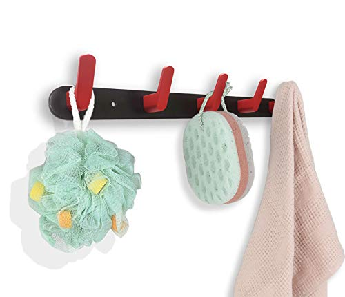 Wall Mounted Towel Coat Rack Hooks Hat Key Holder Clothes Pet Leash Umbrella Entryway Hanger Bedroom Kitchen Bathroom Black Red