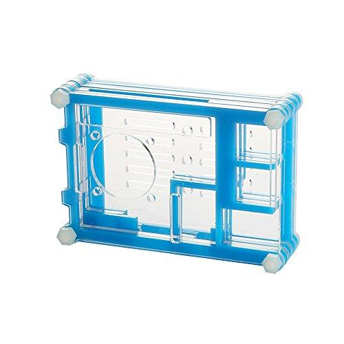 Leaningtech 20–211–285ventola con trasparente caso scocca in acrilico per Raspberry Pi 2Model B e B + Rpi, 9strati, blu
