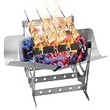 Walmeck Parrilla de Barbacoa Estufa de leña Plegable de Acero Inoxidable para Acampar al Aire Libre Senderismo Cocinar Picnic BBQ