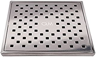 QM Square Shower Drain, Grate made of Stainless Steel Marine 316 and Base made of ABS, Lagos Series Tulia Line, 5 inch 3/4, Satin Finish, Kit includes Hair Trap/Strainer and Key