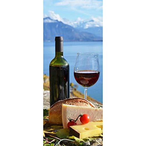 JIANXIQT deurstickers voor binnendeuren, citaat muursticker rode wijn westerse voedsel 3D badkamer deur sticker Vinyl waterdichte Scandinavische abstractie kunst stickers voor woonkamer keuken decor muurschildering 90x200cm