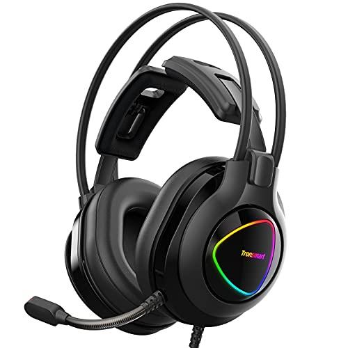 Tronsmart Alpha Casque Gaming PS4 Xbox One PC, Micro Casque Gamer avec Micro Anti Bruit, control audio intégré, Surround Casque Gamer Stéréo avec RVB LED, Mousse à Mémoire de Forme, Pilote 50 mm