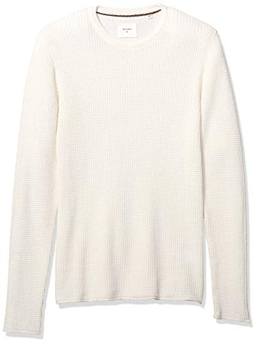 Billy Reid Men's Cotton Cashmere Mini Waffle Crew Neck Sweater, White, M