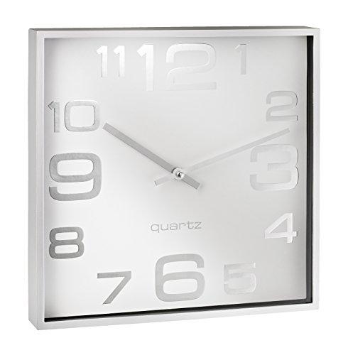 ALCO-Albert 187-10 - Wanduhr, ca. 28,3 x 28,3 x 4,1 cm, silber weiß