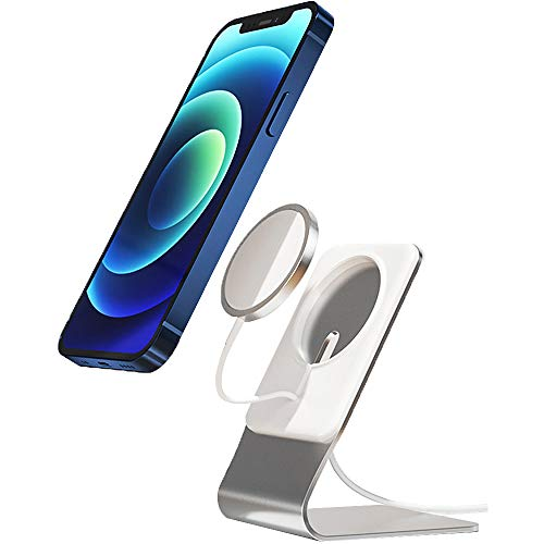Casmyd Charger Stand for Mag Safe Charger,Magnetic Phone Charger Holder,Stable Aluminum Wireless Charging Stand Non-Slip Charger Dock Cradle Desk for iPhone 12 Pro Max/12/12 Pro/12 Mini