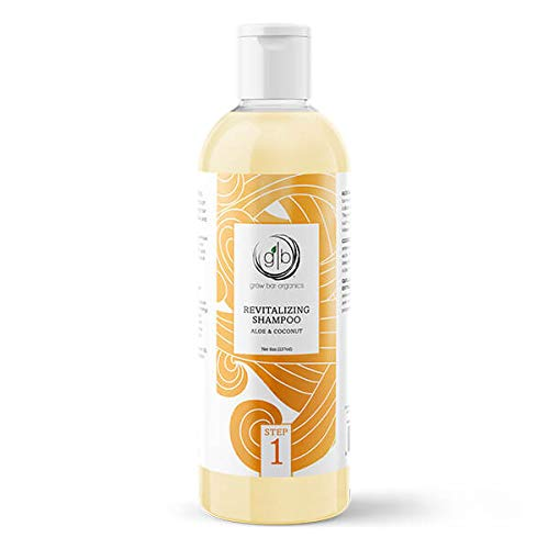 Grow Bar Organics Revitalizing Shampoo for Natural Hair, Aloe Vera and Coconut, Moisturizing Shampoo for Curly Hair for Kids, Adults, African Americans, 8 ounce