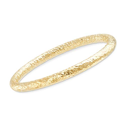 Ross-Simons Italian 18kt Yellow Gold Over Sterling Silver Hammered Bangle Bracelet. 7.5 inches
