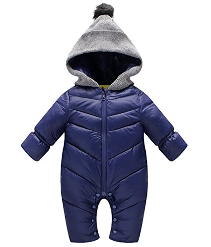Ohrwurm Baby Boys Blue Hooded Duck Down Polyester Jumpsuit 12-18 Months Winter Long Sleeve Bodysuit Jumper Snowsuit