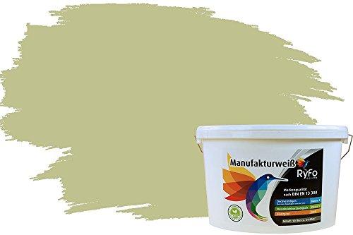 RyFo Colors Bunte Wandfarbe Manufakturweiß Pistazie 10l - weitere Grün Farbtöne und Größen erhältlich, Deckkraft Klasse 1, Nassabrieb Klasse 1
