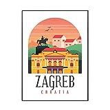 HJZBJZ Retro Vintage Zagreb Leinwand Malerei Kunstdruck