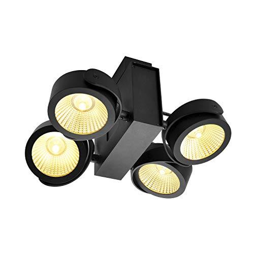 SLV Wand- und Deckenaufbauleuchte TEC KALU CW / Decken- und Wand-Beleuchtung innen, LED Spot, Aufbau-Leuchte, Wandaufbauleuchte, Decken-Strahler / 3000K 60.0W 3800lm schwarz dimmbar