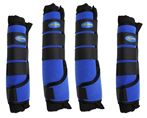 Professional Equine Horse Horse 4-Pack Leg Care Stable Shipping Neoprene Boot Wraps Royal Blue 4108RB