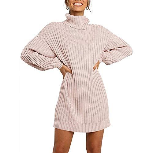 MEIGUI Art und Weise Frauen hohe Ansatz Mittellanges Pullover, Herbst und Winter Laterne Hülsen-Strickjacke-Kleid Pink-Large