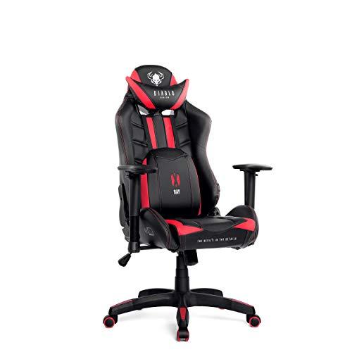 Diablo X-Ray Gaming Stuhl Bürostuhl Kinderstuhl Schreibtischstuhl 2D Armlehnen Ergonomisches Design Kunstleder Perforation Wippfunktion (schwarz-rot, Kindergröße)
