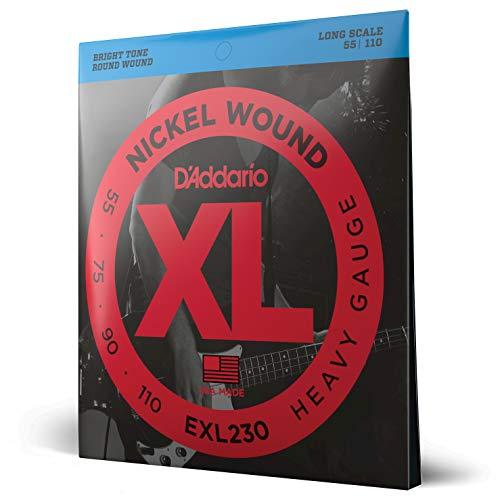 D'Addario EXL230 - Juego de cuerdas para bajo eléctrico de níquel, plateado, 055' - 110