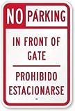 TammieLove Señal de Seguridad Reflectante de Aluminio para Pared de Metal Texto en inglés No Parking, in Front Gate, Prohibido Estacionar, 8 x 12 Pulgadas