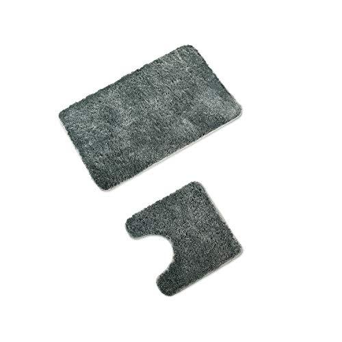 WohnDirect Badematten Set • WC Vorleger (45x45cm), Badematte (50x80cm) • rutschfest waschbar Badezimmerteppich MIT WC-Ausschnitt - Grau