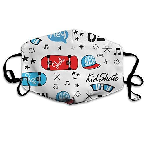 Cavdwa Modische Skateboard-Maske, waschbar, wiederverwendbar, atmungsaktiv, 10,9 cm, verstellbare Ohrringe zum Laufen