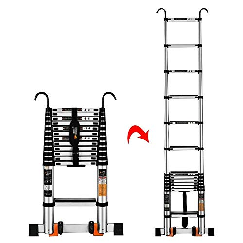 QNN Ladder Telescopic Ladders,19.4Ft Atelescoping Ladder with Detachable Hooks, Multi Purpose Engineering Telescopic Extension Ladder, 330Lbs Capacity