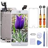 Brinonac Pantalla para iPhone 6, 4.7' Pantalla Táctil LCD con botón de Inicio,Cámara Frontal, Sensor de proximidad, Altavoz, ensamblaje de Marco digitalizador y Kit de reparación (Blanco)