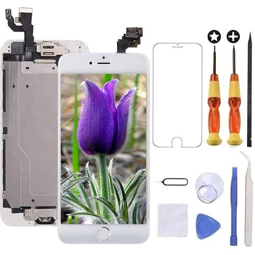 Brinonac Display per iPhone 6 Schermo 4,7 Pollici Schermo LCD Touch Parti di Ricambio con Home Pulsante, Fotocamera, Stanghetta,Sensore Flex Utensili Inclusi (Bianco)