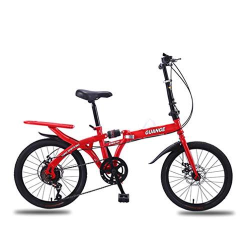 Doble de bicicletas plegables, libre de la instalación de 21/26 pulgadas Variable Una velocidad de amortiguación rayo rueda del freno de disco, bicicleta de montaña Estudiante, tres colores,Rojo,26in