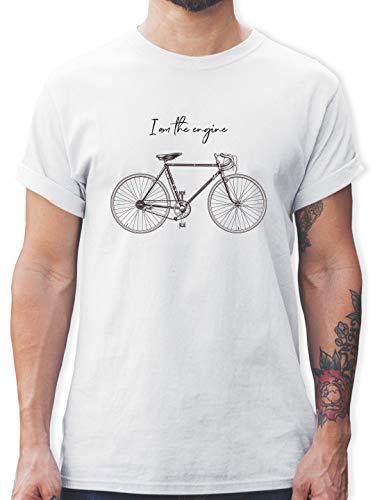 Radsport - I am The Engine - L - Weiß - Tshirt im The Engine - L190 - Tshirt Herren und Männer T-Shirts