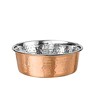 NEATER PET BRANDS Hammered Copper Finish Pet Bowls - Deluxe Luxury Style Dog and Cat Dish (Medium)
