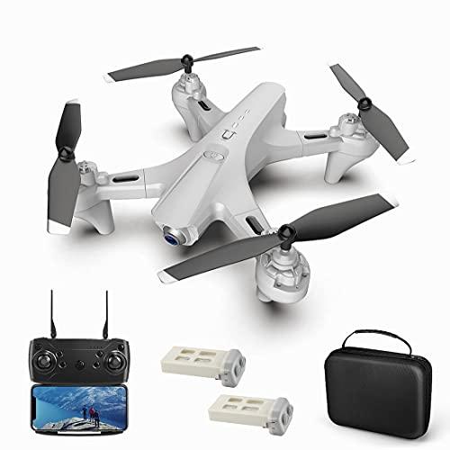 XIAOKEKE 4K Drone con Telecamera HD FPV, Un Pulsante di Decollo/Atterraggio, modalità Senza Testa, G-Sensore, 3D Flip, Funzione di Hovering, Adatto Ai Principianti (2 Batterie),Bianca