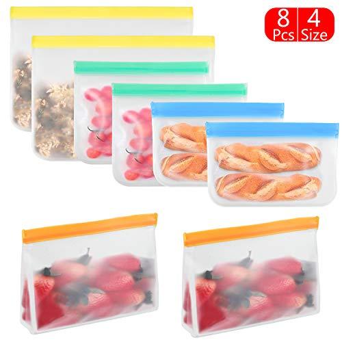 Deson 8 Pcs Bolsas de Almacenamiento de Alimentos Reutilizables, Bolsa Sándwich Cierre hermético Almacenaje, Bolsa Alimentos para Fruta Verdura Carne Nevera Cocina