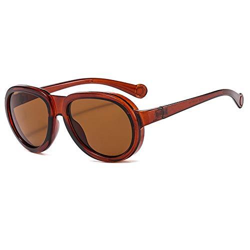 Europeo y americano divertido personalidad gafas de sol señoras marco grande visera de sol hombres gafas de sol marrón rebanadas de té