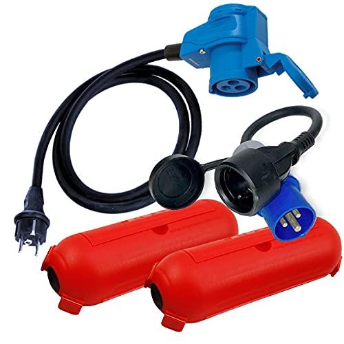 CEE Adapter Kabel Stecker Winkelkupplung Schutzbox Set Camping Boot Wohnmobil Garten H07RN-F 3x2,5mm² 230V 16A Stromadapter