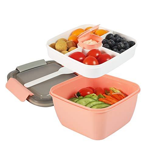 shopwithgreen Salatbehälter Lunch-Behälter Bento Box für Mittagessen, 3 Fächer für Salat und Snacks, Salatschüssel mit Dressingbehälter, Auslaufsicher, Mikrowellengeeignet 1300 ml Dunkel (Pink)
