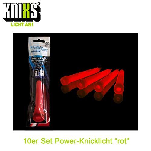 KNIXS - 10x Power Knicklichter, seit 15 Jahren in Profiqualität, deutsche Testnote: 1,4 / einzeln verpackt - 150 x 15 mm - Leuchtstab - Pures Rot leuchtend - für Party, Festival, Outdoor oder Notlicht