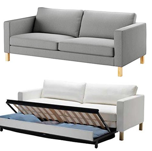 Funda de sofá de algodón resistente. Sofá no incluido. Funda de repuesto para sofá de 3 plazas de IKEA Karlstad, funda de sofá de 3 plazas. (Algodón gris claro)