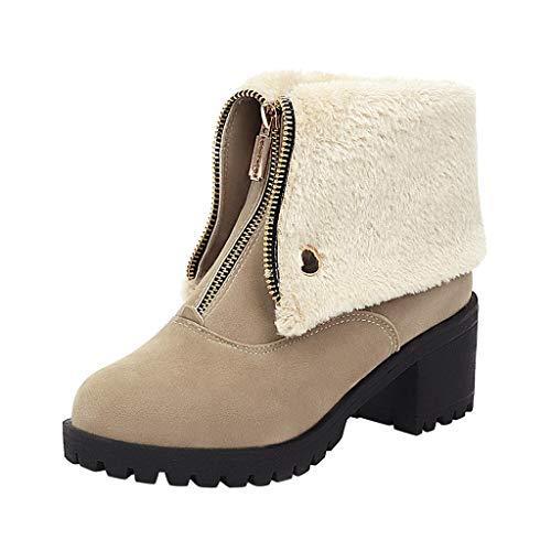 COZOCO Damen Normallack Winterstiefel Kurzes Plüschfutter Warme Stiefeletten Runde Kappe Reißverschluss Kurze Stiefel Freizeitschuhe(Beige,43 EU)