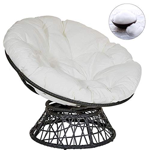YDWLLF Swing Hanging Basket Seat Comfort Cushion Rattan Hanging Egg Chair Pads With Fixing Ties 5.9in Thick Versatile Tatami Floor Seat, Washable For Home Office Chair,White,120 * 120cm/47.2in